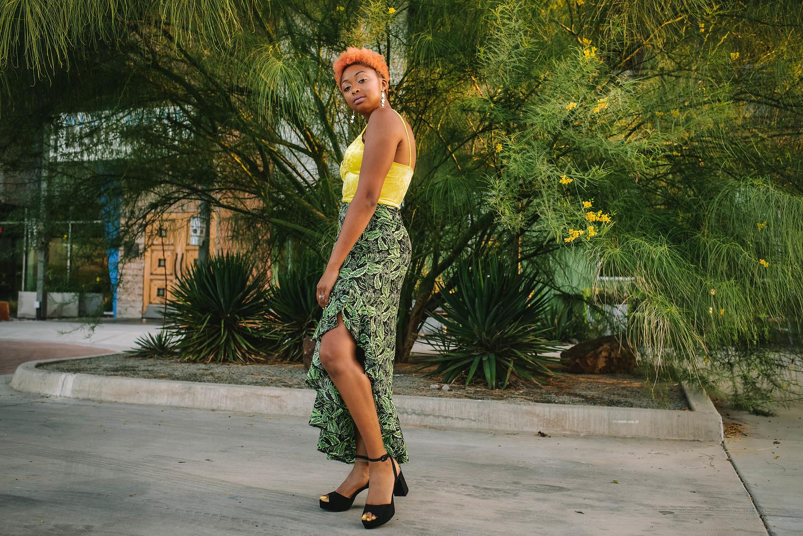 leaf print skirt, the beauty beau