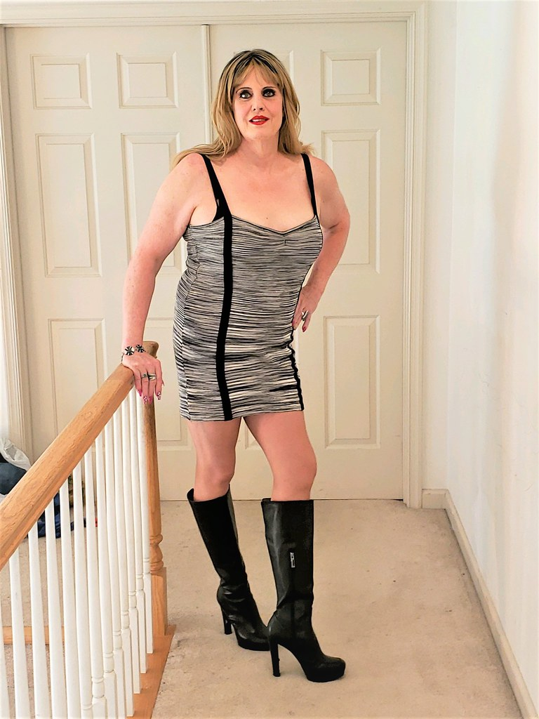 short dress with high boots