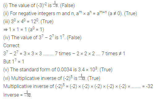 ICSE Mathematics Class 8 Solutions Chapter 2 Exponents and Powers Objective Type Questions Q2