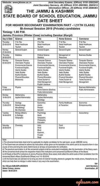 JKBOSE 11th Bi-Annual Date Sheet 2019 Jammu Division Winter Zone