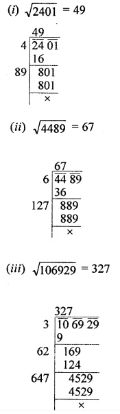 ICSE Understanding Mathematics Class 8 Solutions Chapter 3 Squares and Square Roots Ex 3.4 Q1