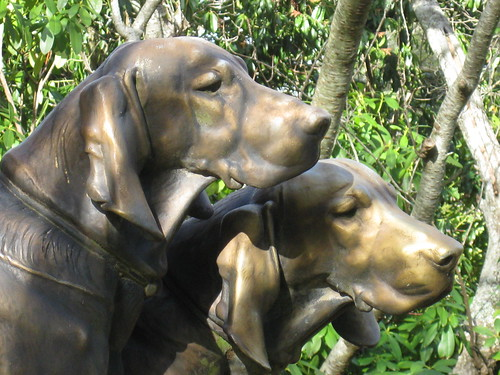 Detail of the Huntsman and Dogs Bronze Statue by Henri Alfred Jacquemart - the Forest Glade Gardens; Mount Macedon Road, Mount Macedon