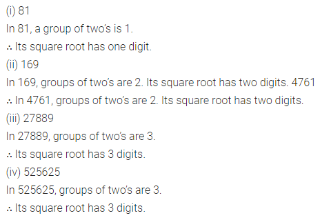 ICSE Mathematics Class 8 Solutions Chapter 3 Squares and Square Roots Ex 3.4 Q2