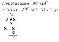 Maths Questions for Class 8 ICSE With Answers Chapter 3 Squares and Square Roots Objective Type Questions Q11
