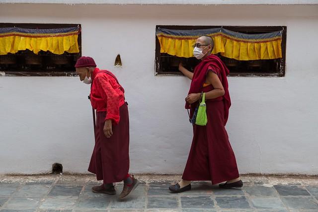Monks Circumambulate The Bodhnath, Kathmandu