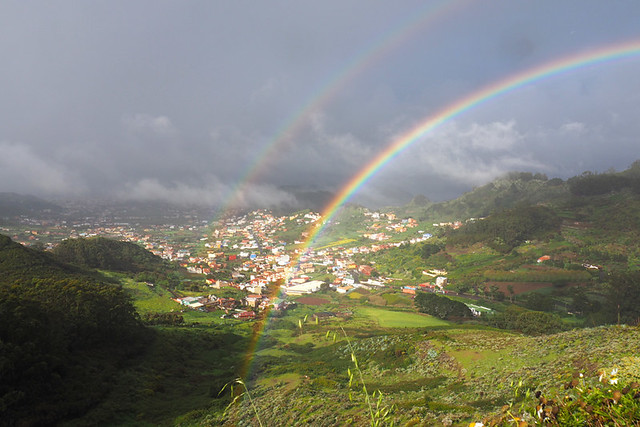 Anaga, rainbow over Aguere Valley, Tenerife