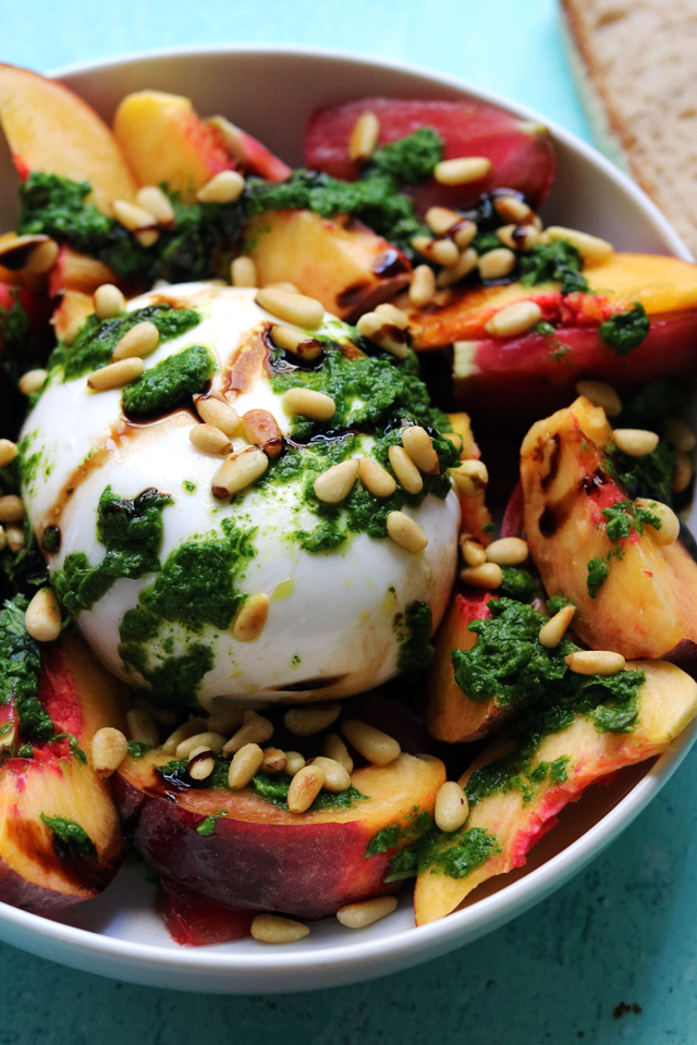 Burrata Caprese with Tomatoes, Peaches, and Basil Vinaigrette
