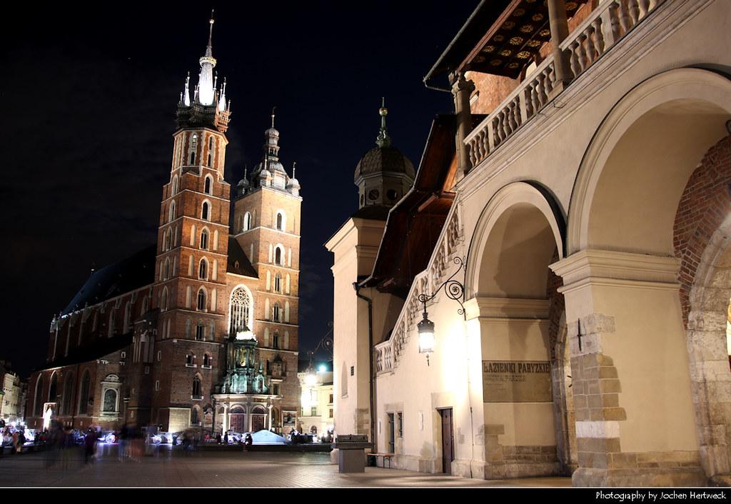 Sukiennice & St. Mary's Basilica @ Night, Krakow, Poland