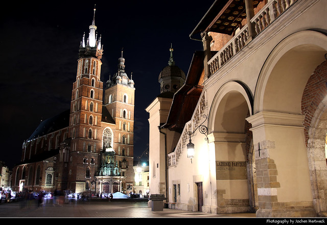 Sukiennice & St. Mary's Basilica @ Night, Krakow, Poland