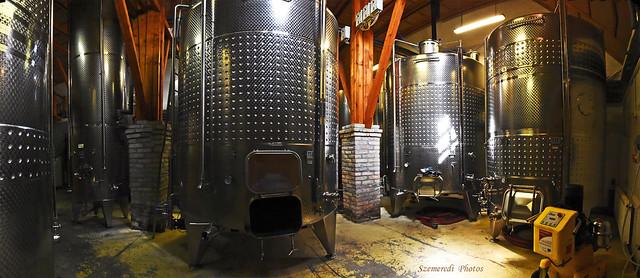 Metal barrels in a winery