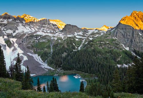 blue lakes lake mountains forest trail flowers sunrise colorado bluelakes