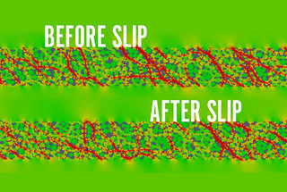 These before and after simulations show the collapse of a stress chain after a laboratory quake.
