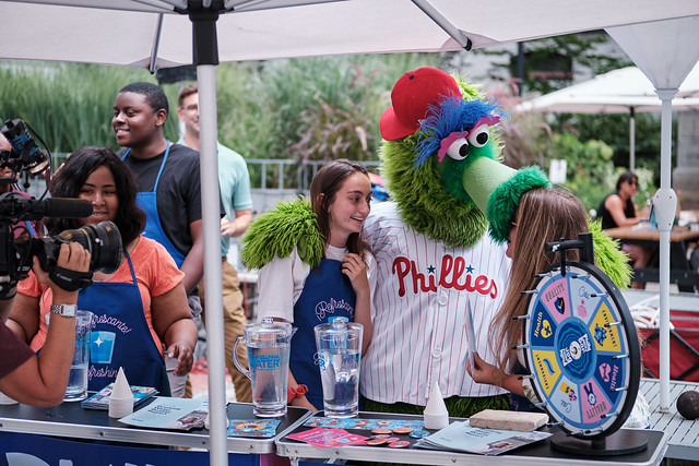 Commissioner Hayman, Phanatic at Philly Water Bar
