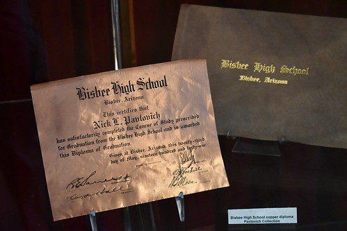 Bisbee Mining and Historical Museum sample of Copper Diplomas given to HS graduates. From History Comes Alive in Cochise County, Arizona