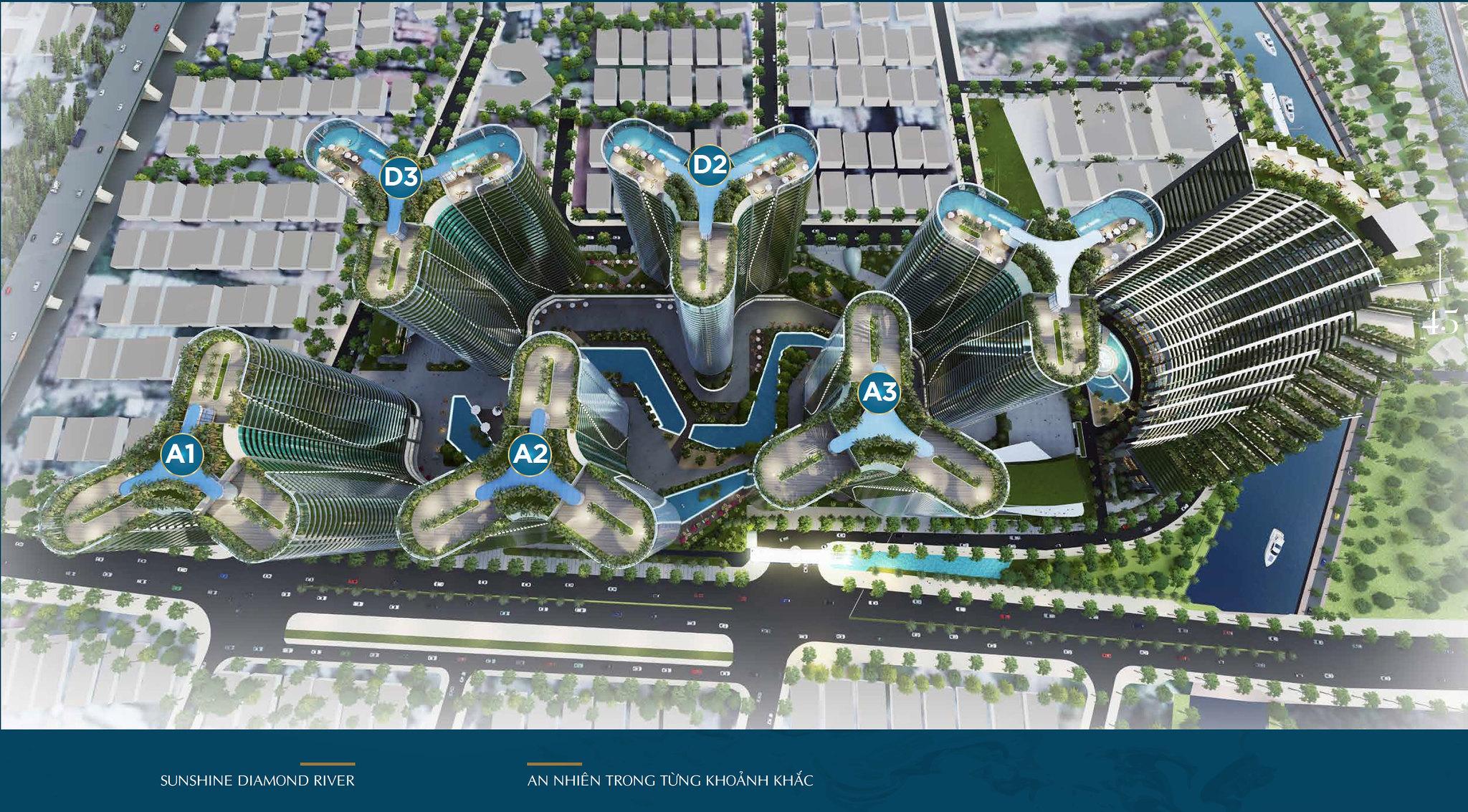 Mặt bằng dự án và Layout thiết kế căn hộ Sunshine Diamond River