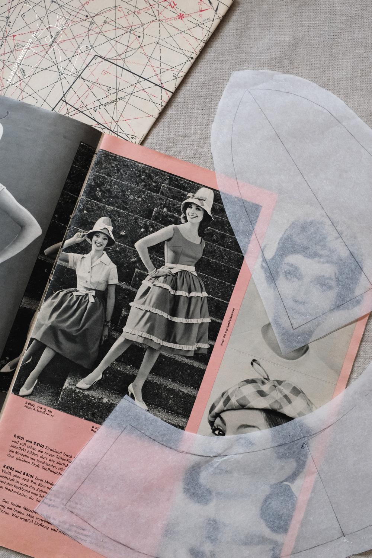marchewkowa, szycie, krawiectwo rękodzieło retro, wykroje, laniany kapelusz, lata '60., vintage patterns, Neuer Schnitt, linen hat, 1960s, style, DYI, handmade