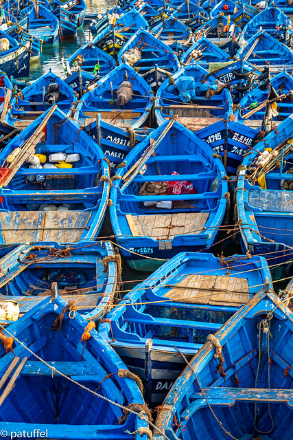 Blue Boats in the harbour of Essaouira (Morocco)