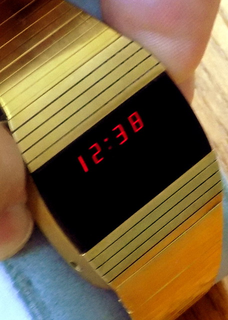 Vintage Men's Electronic Digital Dress Watch, Red LED Display, Band & Case Made In USA, Powered By 2 Stacked Button Cells, Circa 1975 - 1976