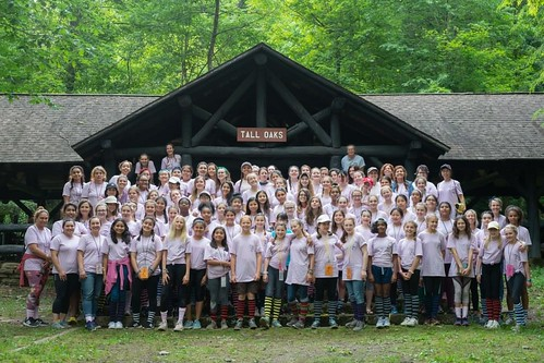 Photo of group of young women campers at New Germany State Park