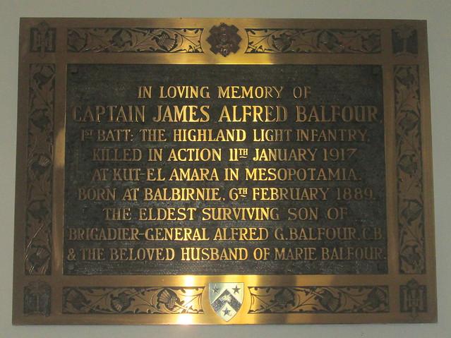 James Balfour Memorial, St Drostan's, Markinch