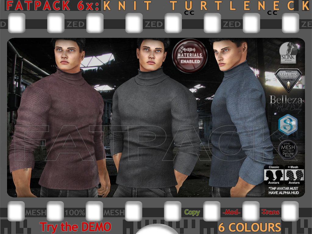 FATPACK 6x ZED MESH Knit Turtleneck Sweaters