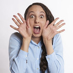 woman dispalying a scared facial expression