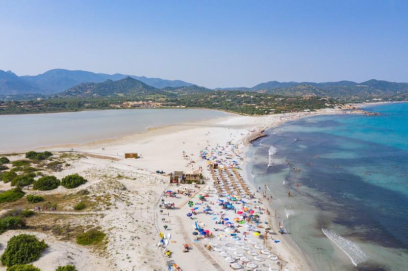 The lake Stagno di Notteri on the west of Porto Giunco Beach in Sardinia, Italy