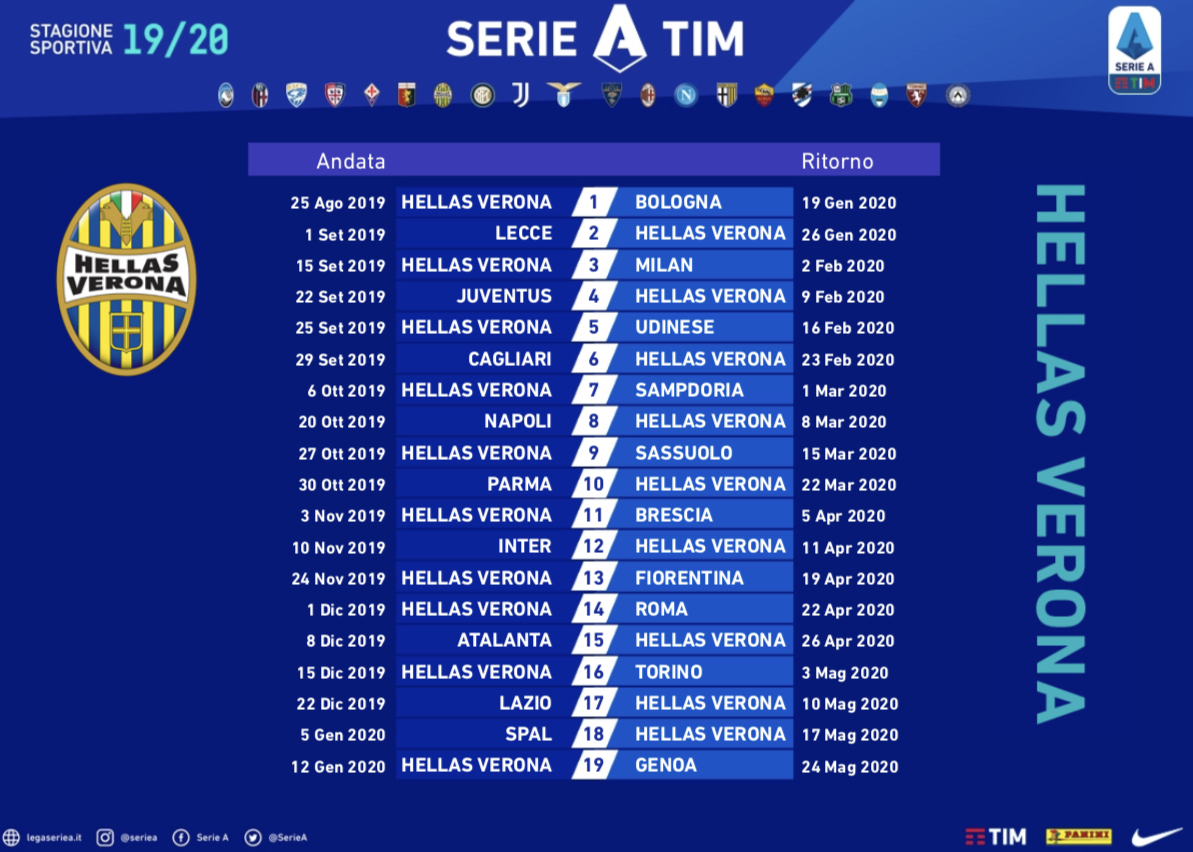 Calendario Verona.Serie A Tim 2019 20 Cosa Ne Pensate Del Calendario Dell