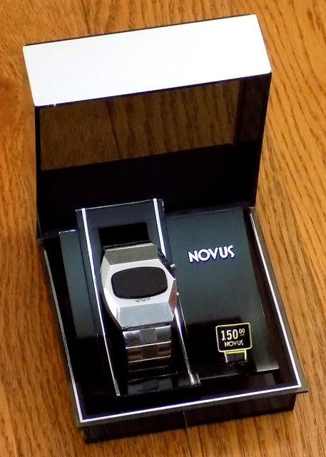 Vintage Novus Men's Electronic Digital Watch In Original Presentation Box, Red LED Display, Swiss-Made Case, Circa 1974 - 1975