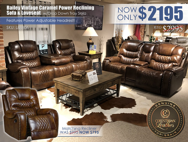 Bailey Vintage Caramel Leather Power Reclining Set_L88806_Update