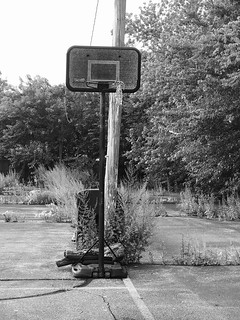 Basketball hoop in abandoned playground
