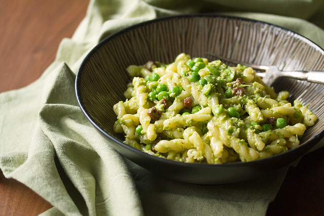 Garlic Scape Pasta with Peas and Pancetta