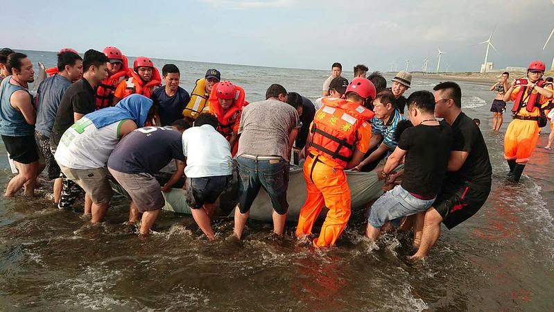20190728700斤鯨豚擱淺海水浴場 海巡與民齊力救援