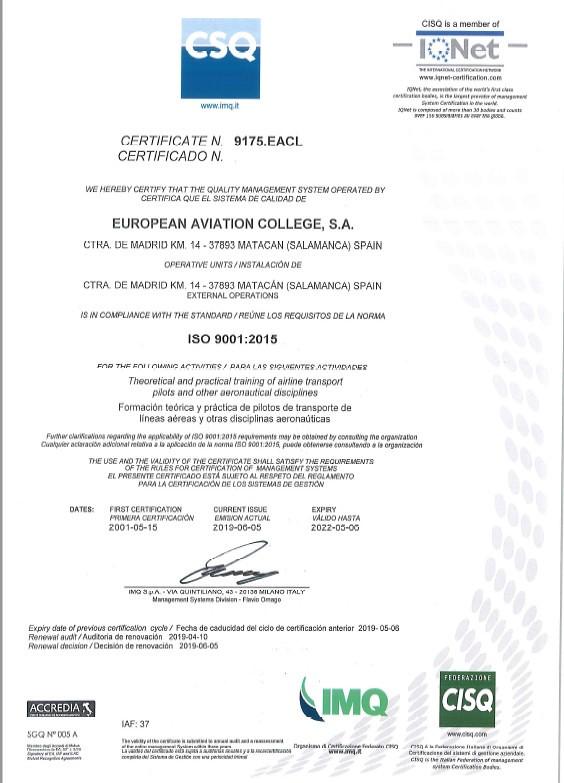 Adventia renueva un año más como la primera escuela de Pilotos de Castilla y León en obtener el sello de calidad ISO 9001:2015