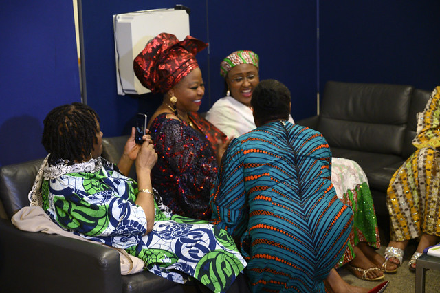 DSC_5121 The First Lady of Nigeria Her Excellency Aisha Buhari with Baroness Martha Osamo and Modupeola Adewemimo wife of the Nigerian High Commissioner to the UK at the Awards Gala Dinner at the African Ambassadors & Diaspora Interactive Form AAIF United