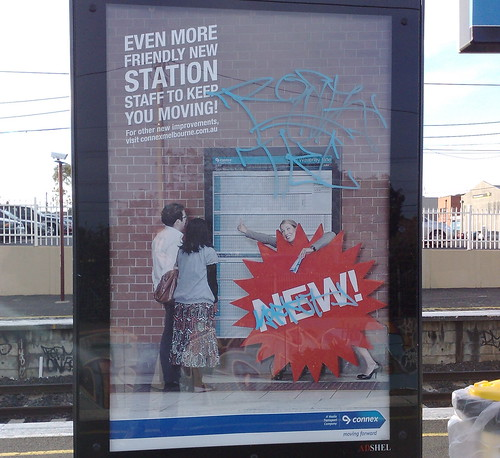 Connex Melbourne sign advertising additional station staff, July 2009