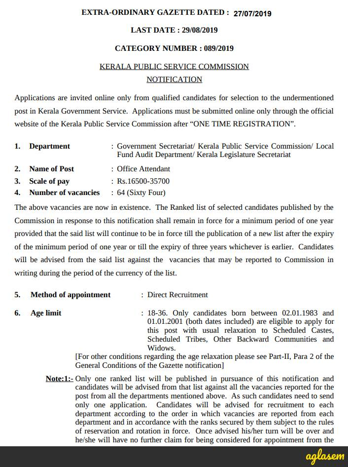 Secretariat LGS Notification 2019