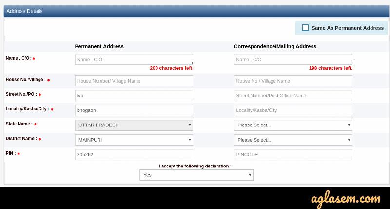 UPSSS 2019 Adress Detail Screen