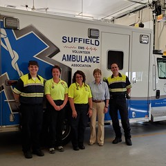 Rep. Zawistowski joined Suffield Volunteer Ambulance Association for a ride-along. Jake, Kelly, Laura, and Chief Art Groux.
