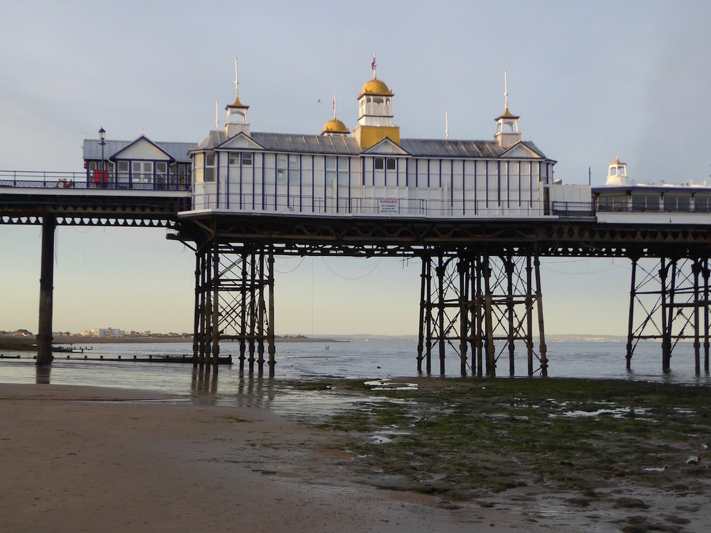 Eastbourne pier at low tide