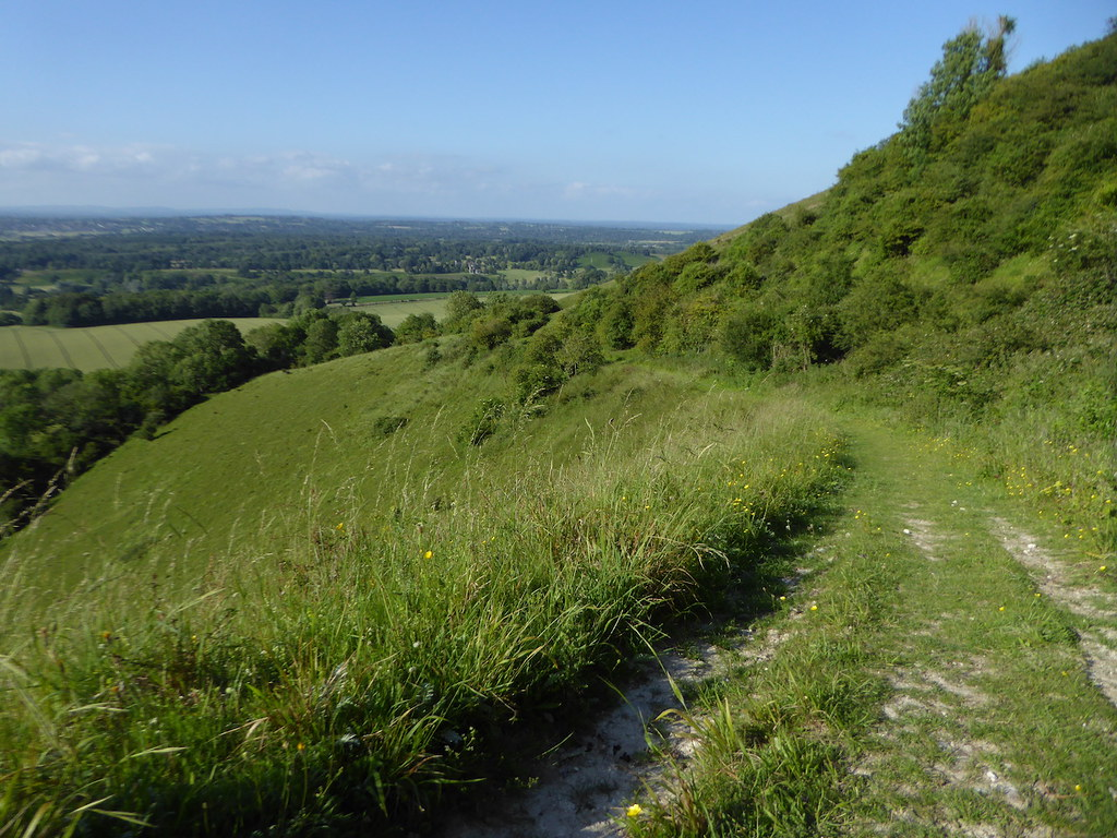 The climb up onto the downs Pulborough to Amberley walk