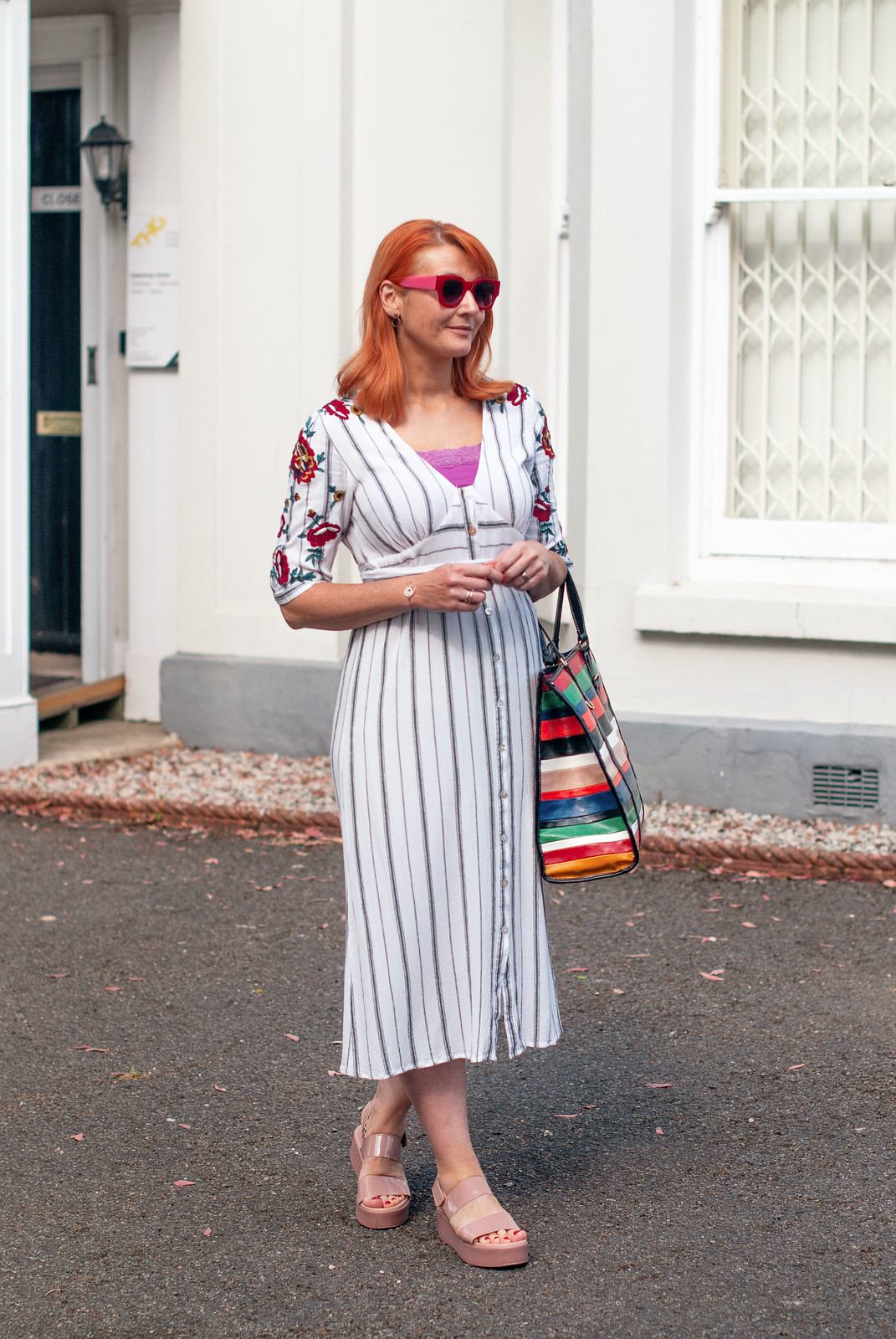 A White Summer Dress That Got All The Compliments - Embroidered Striped White Dress, Blush Pink Flatform Sandals, Striped Leather Tote | Not Dressed As Lamb, Over 40 Fashion
