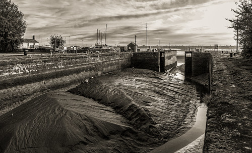 b bw outside river severn water landscape nature sky clouds buildings