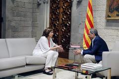 dt., 30/07/2019 - 11:41 - Barcelona 30.07.2019 Reunió de l'alcaldessa de Barcelona, Ada Colau, amb el president de la Generalitat, Quim Torra, al Palau de la Generalitat. Amb Motiu de l'inici del nou mandat municipal.