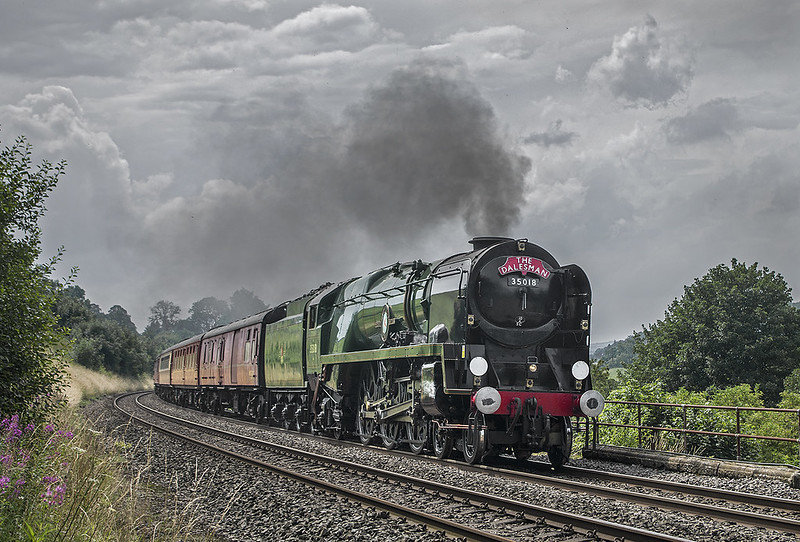 35018 British India Line passing Stainforth with the 'Dalesman' to Carlisle. 30 July 2019.