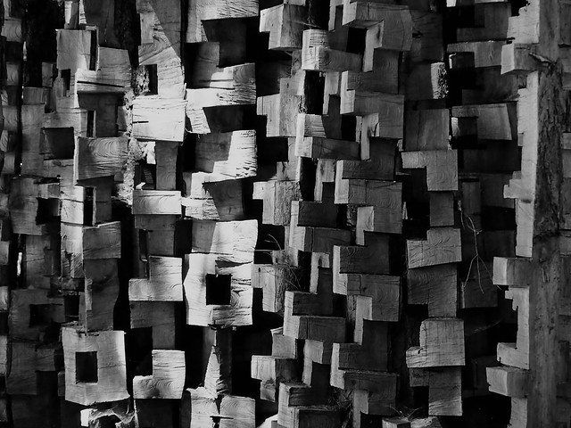 The tree of wooden brick cubes