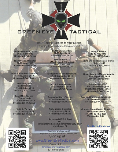 Training Flyer 2019-2020 | by GreenEyeTactical