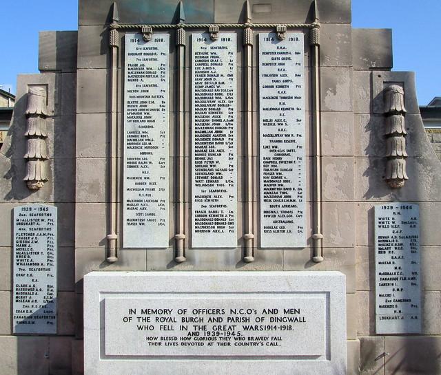 Dingwall War Memorial Dedication and Names