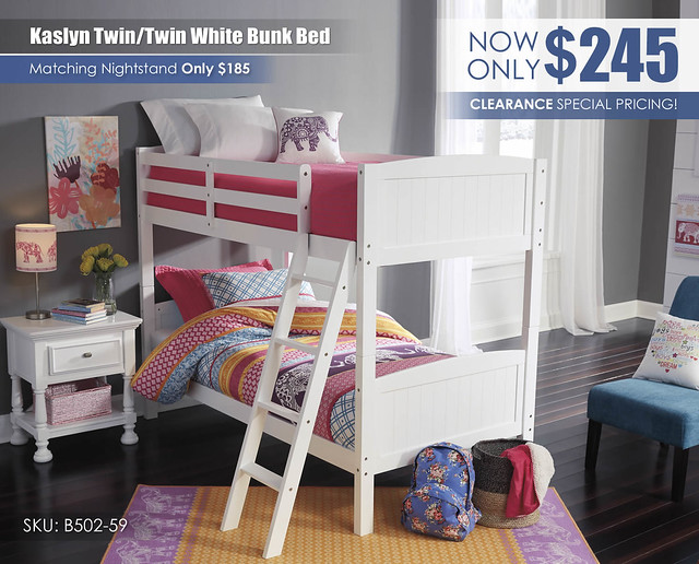 Kaslyn Twin over Twin White Bunk Bed_B502-59_Clearance_ALT
