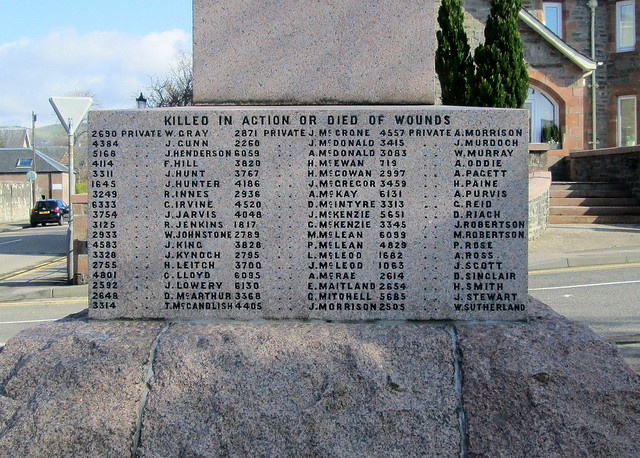 Dingwall, Boer War Memorial Names